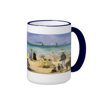 Beach at Boulogne by Manet, Vintage Impressionism Mugs