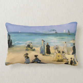 Beach at Boulogne by Manet Vintage Impressionism Pillows
