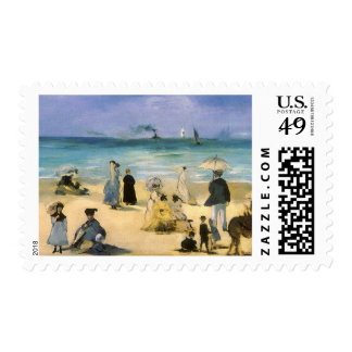 Beach at Boulogne by Manet, Vintage Impressionism Postage