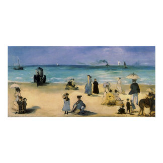 Beach at Boulogne by Manet, Vintage Impressionism Poster