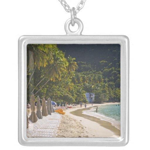 Beach at Cane Garden Bay, Island of Tortola Square Pendant Necklace