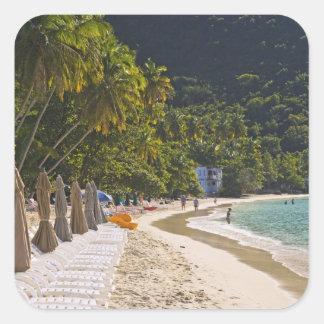 Beach at Cane Garden Bay, Island of Tortola Square Sticker