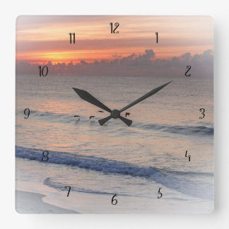 Beach at Dawn Square Wall Clock