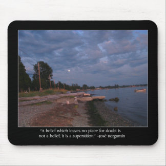 Beach At Dusk and Bergamin Quote Mouse Pad