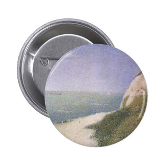 Beach at Honfleur by Seurat, Vintage Pointillism Pinback Buttons