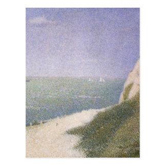 Beach at Honfleur by Seurat, Vintage Pointillism Post Card