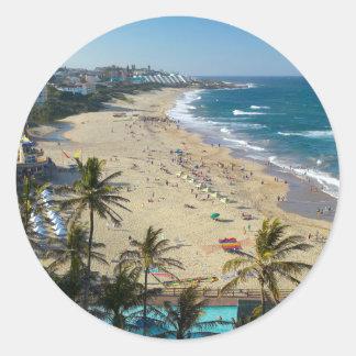 Beach At Margate, South Coast, Kwazulu-Natal Classic Round Sticker