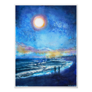 Beach at Night by P. Allingham Carlson Poster