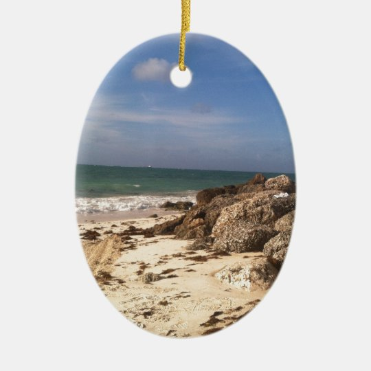 Beach at Port Lucaya, Freeport, Bahamas Ceramic Ornament