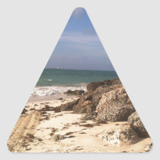 Beach at Port Lucaya, Freeport, Bahamas Triangle Sticker