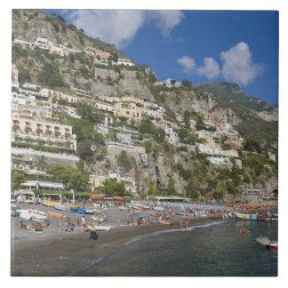Beach at Positano, Campania, Italy Tile