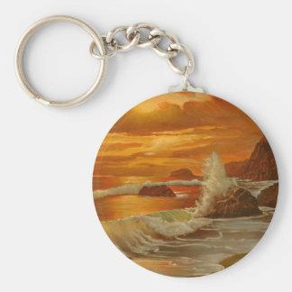 Beach at Sunset Basic Round Button Keychain