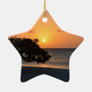 Beach at Sunset Ceramic Ornament