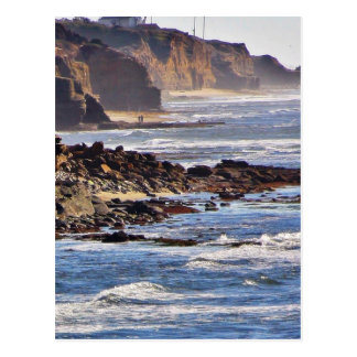 Beach At Sunset Cliffs Postcard