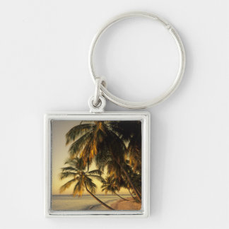 Beach at sunset, Trinidad Silver-Colored Square Keychain