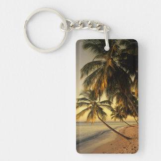 Beach at sunset, Trinidad Double-Sided Rectangular Acrylic Keychain