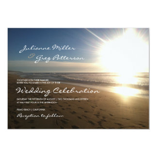 "Beach at sunset - wedding invitation 5"" x 7"" invitation card"
