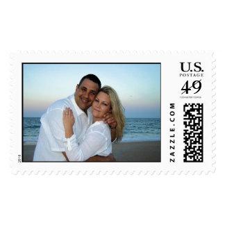 Beach at Sunset Wedding Invitation Stamps