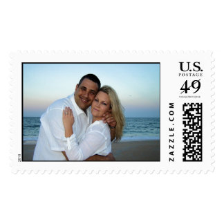 Beach at Sunset Wedding Invitation Stamps