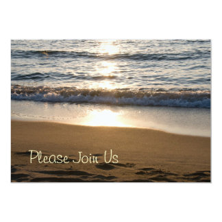 Beach at Sunset Wedding Vow Renewal Invitations
