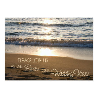 "Beach at Sunset Wedding Vow Renewal Invitations 5"" X 7"" Invitation Card"