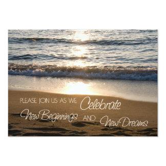Beach at Sunset Wedding Vow Renewal Invitations