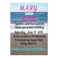 Beach At The Ocean Wedding Card