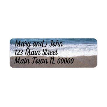 Beach Themed Beach At The Ocean Wedding Label
