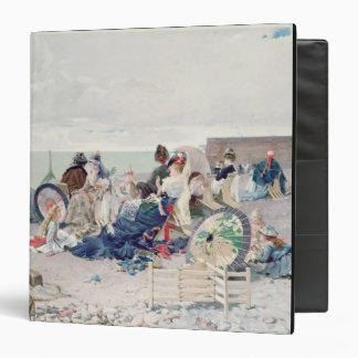 Beach at Yport, 1878 (oil on canvas) Vinyl Binder