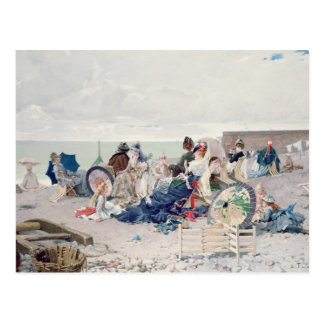 Beach at Yport, 1878 (oil on canvas) Postcard