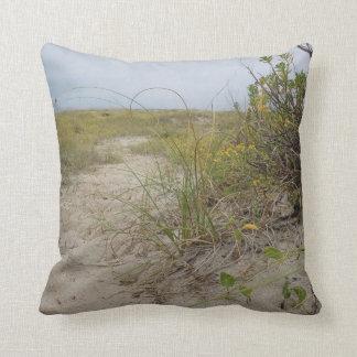 Beach Autumn Wildflowers Throw Pillow
