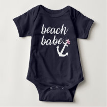 Beach Babe - Baby Girl's Outfit. Anchor. Blue. Baby Bodysuit