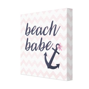 Beach Themed Beach Babe Baby Nursery Nautical Anchor Decoration Canvas Print