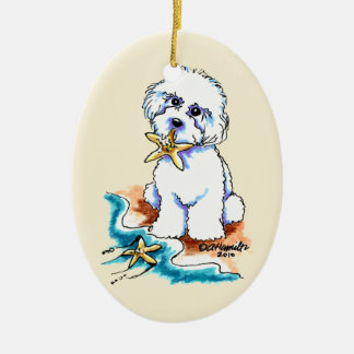 Beach Babe Bichon Frise Ceramic Ornament