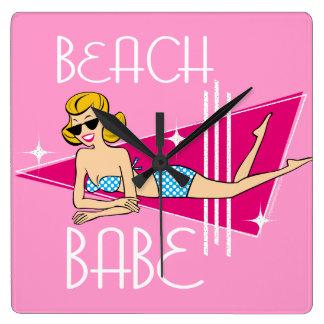 Beach Babe Pink Square Wall Clock