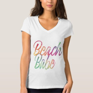 Beach Themed BEACH BABE RAINBOW SCRIPT T-Shirt