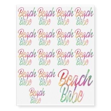 Beach Themed BEACH BABE RAINBOW SCRIPT TEMPORARY TATTOOS