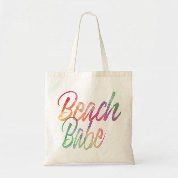 Beach Themed BEACH BABE RAINBOW SCRIPT TOTE BAG