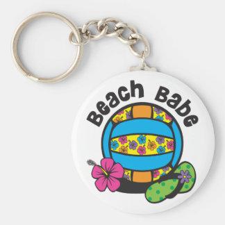 Beach Babe Volleyball Basic Round Button Keychain
