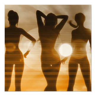 Beach Babes Sunset Silhouette Enjoying the Sun Card