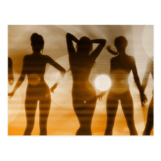 Beach Babes Sunset Silhouette Enjoying the Sun Postcard