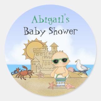 Beach Baby Neutral Baby Shower Stickers