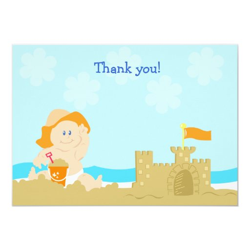 Beach Baby Orange Neutral Flat Card Thank you note