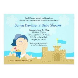 Beach Baby Sand Castle Boy Baby Shower 5x7 5x7 Paper Invitation Card