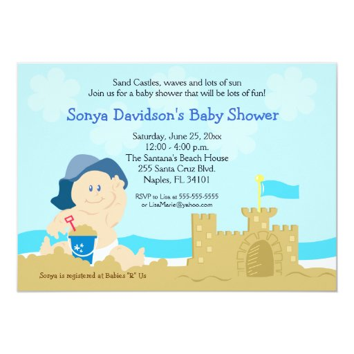 Beach Baby Sand Castle Boy Baby Shower 5x7 Card