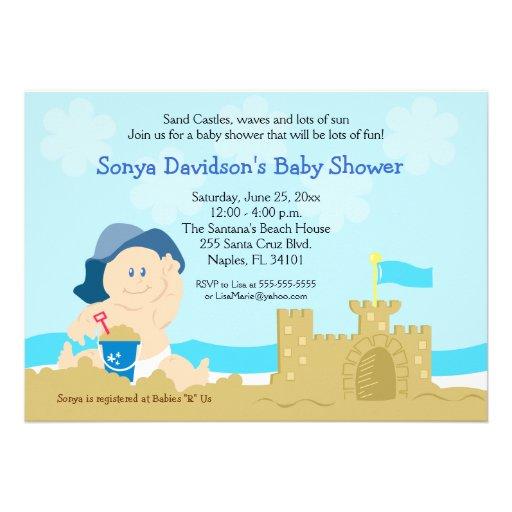 Beach Baby Sand Castle Boy Baby Shower 5x7 Custom Invites