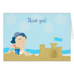 Beach Baby Sand Castle Boy Folded Thank you note Greeting Card