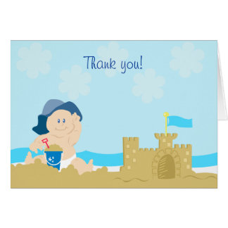 Beach Baby Sand Castle Boy Folded Thank you note Stationery Note Card