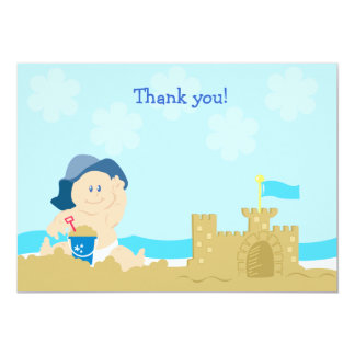 Beach Baby Sand Castle Flat Card Thank you note