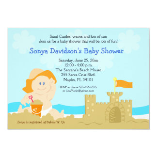 Beach Baby Sand Castle Orange Baby Shower 5x7 Card